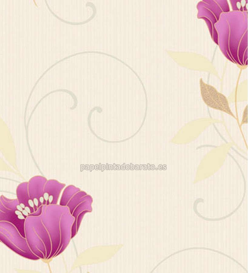 Papel pintado flores berenjena saint honore 1090130 for Papel pintado saint honore