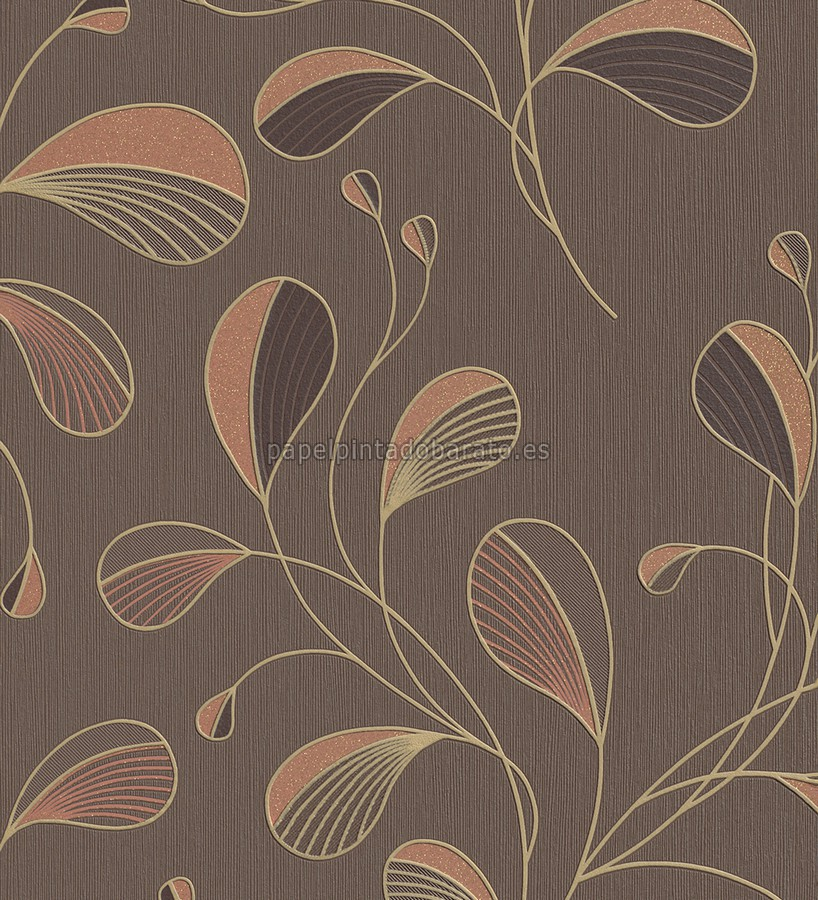 Papel pintado hojas chic marron chocolate 1004410 for Papel pintado salon marron