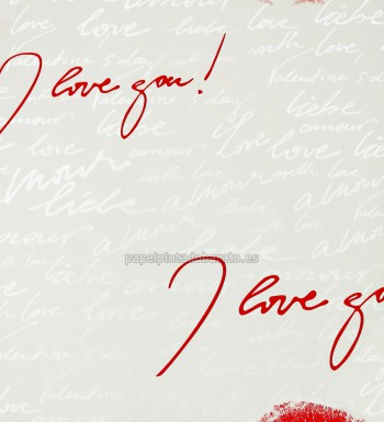 Papel pintado i love you rojo y blanco metalizado 266 5109 for Papel pintado rojo y gris
