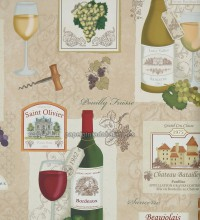 Papel pintado collage botella de vino y uvas - 1115533