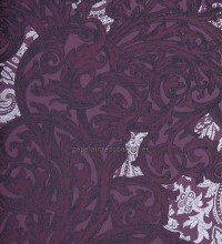 Papel pintado brocado ornamental morado con gloss - 1115810