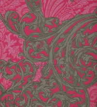 Papel pintado brocado ornamental fucsia con gloss - 1115811