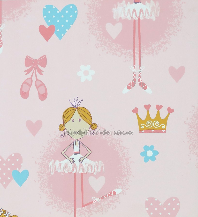Papel pintado bailarina y coronas de ni as rosas 1115882 for Rollo papel decorativo