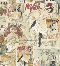 Papel pintado collage moulin rouge y can can - 1115957