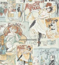Papel pintado collage moulin rouge y can can - 1115960