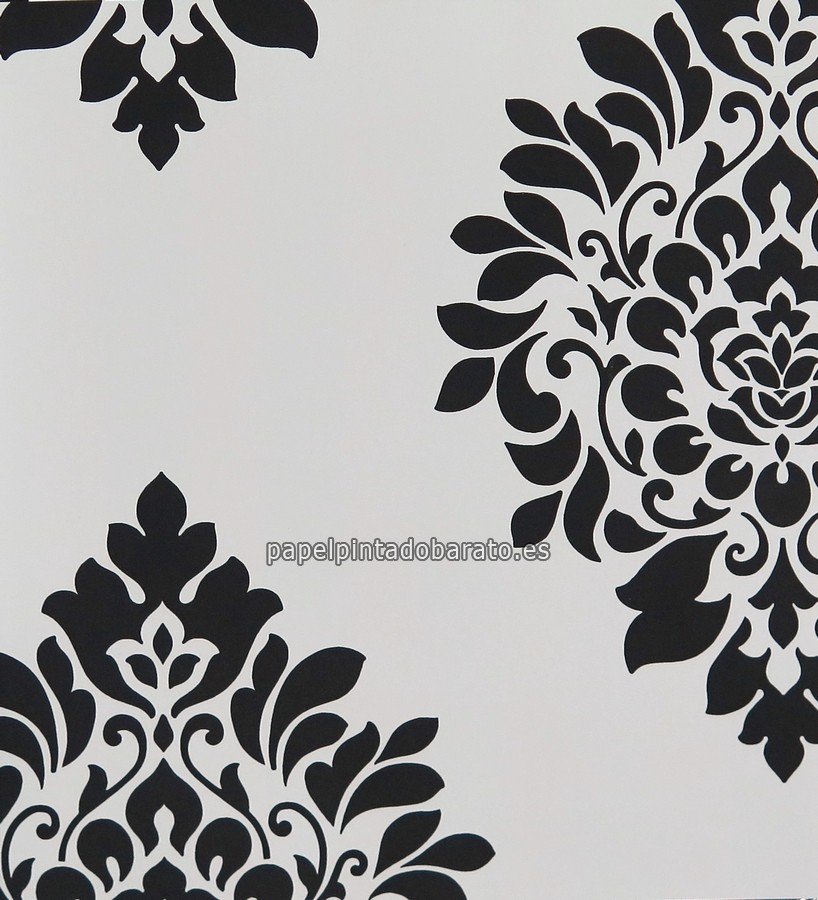 Papel pintado damasco moderno en blanco y negro 1116078 for Papel pintado negro