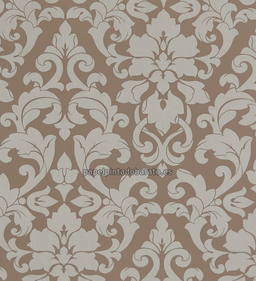 Papel pintado damasco floral tonos marrones 1116114 for Papel pintado damasco