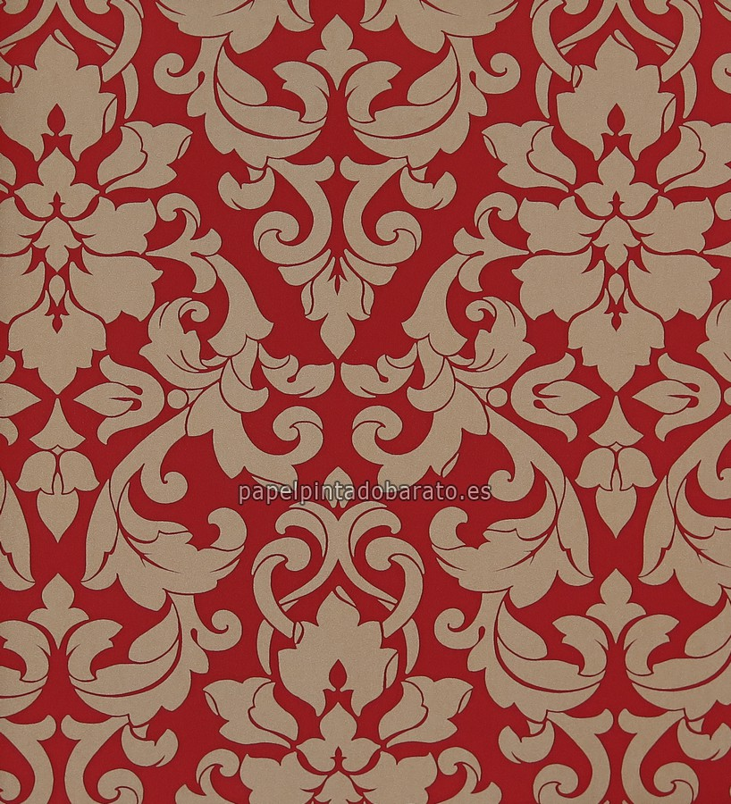 Papel pintado damasco floral tonos crema y rojos 1116115 for Papel pintado damasco