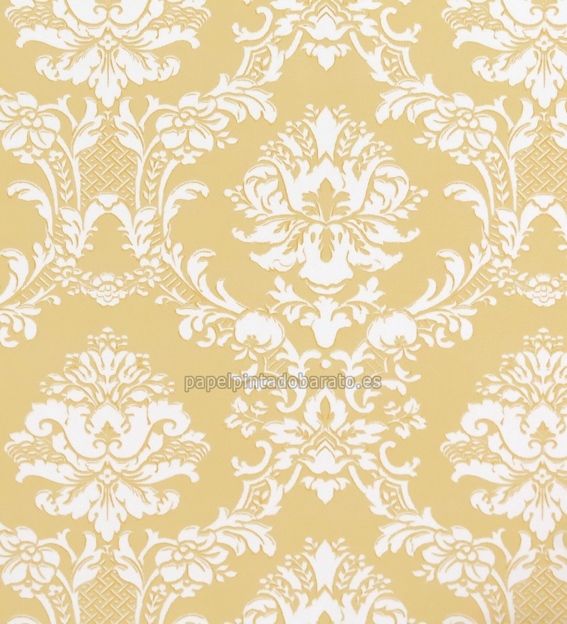 Papel pintado damasco y brocados amarillo oro y beige for Papel pintado damasco