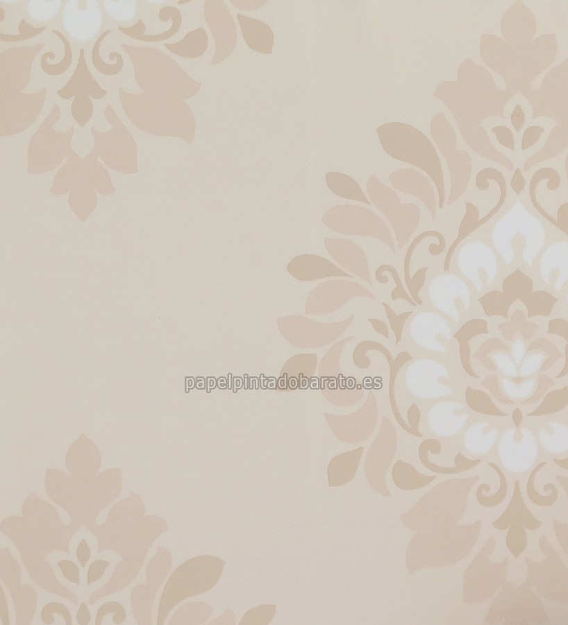 Papel pintado damasco moderno floral tonos crema 1116129 for Papel pintado damasco