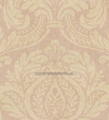 Papel pintado damasco floral oro y rosa pastel 1116474 for Papel pintado damasco