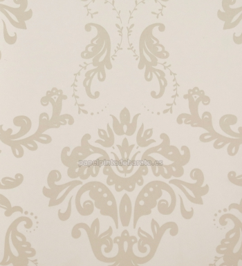 Papel pintado damasco vintage marron arena 1070191 for Papel pintado damasco