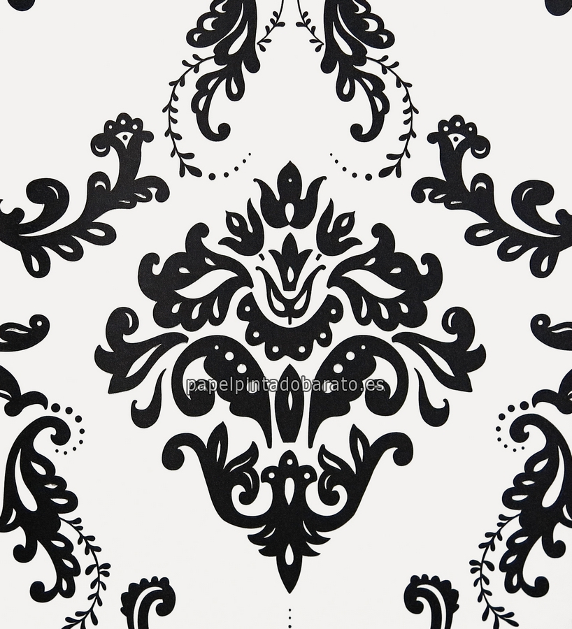 Papel pintado damasco vintage negro fondo blanco 1070195 for Papel de pared blanco