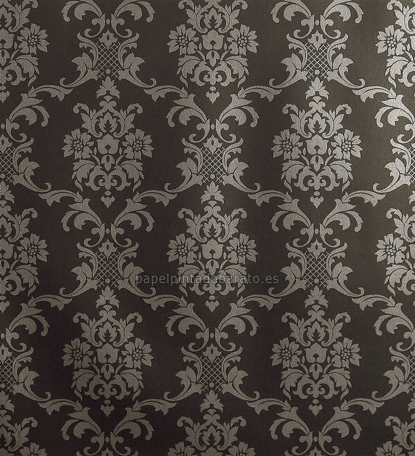 Papel pintado damasco vintage gris oscuro y negro 1070220 for Papel pintado damasco