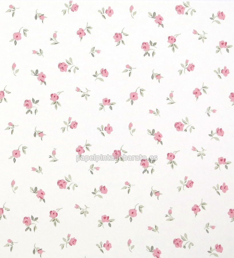 Papel pintado flores peque as rosas fondo blanco 1070241 for Papel pintado rojo y blanco