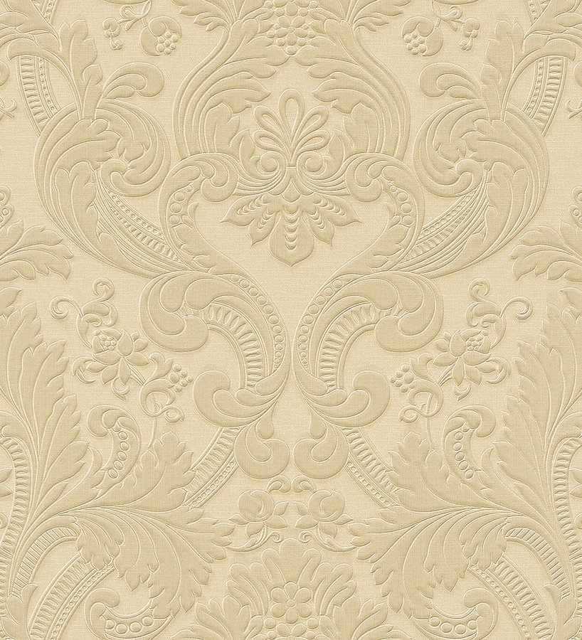 Papel pintado damasco dorado claro estilo italiano bordado for Papel pintado dorado