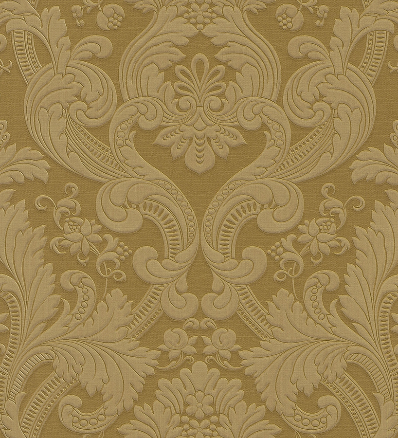 Papel pintado damasco dorado estilo italiano bordado 40730 for Papel pintado dorado