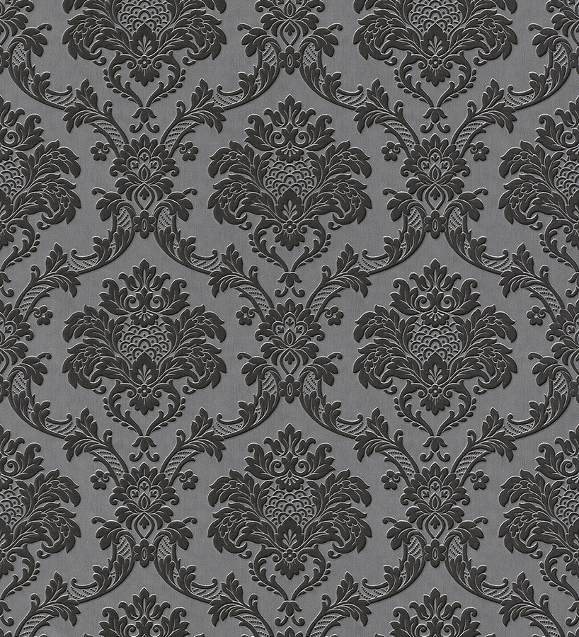 Papel pintado damasco barroco negro fondo gris oscuro 40733 for Papel pintado damasco