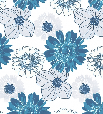 Papel pintado flores variadas color azul y turquesa fondo for Rollo papel decorativo