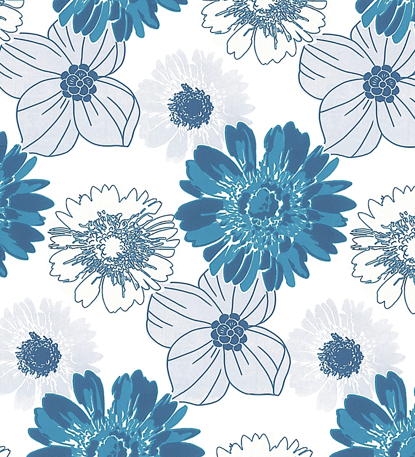 Papel pintado flores variadas color azul y turquesa fondo for Papel pintado color turquesa