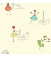 Papel pintado para niñas con hadas fashion Londres y Paris amarillo - 40845