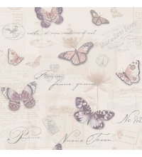 Papel pintado vintage con collage de cartas y mariposas - 40939
