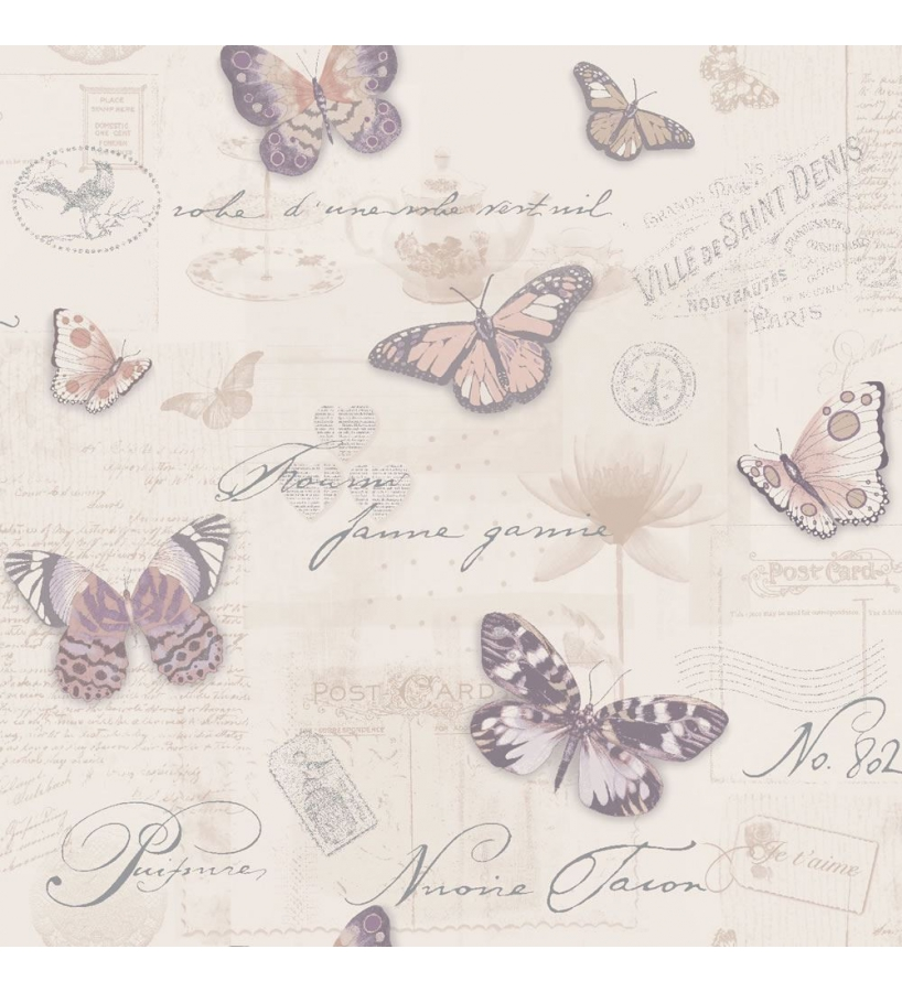 Papel pintado vintage con collage de cartas y mariposas for Papel pintado ingles
