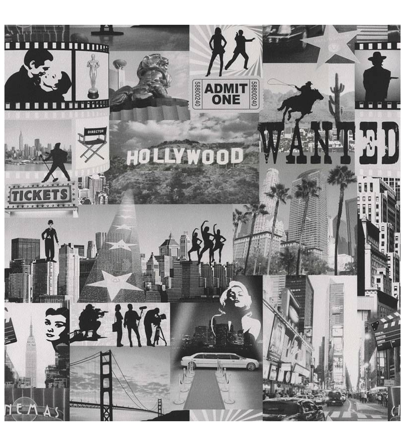 Papel pintado mural moderno hollywood en blanco y negro for Papel pintado ciudades