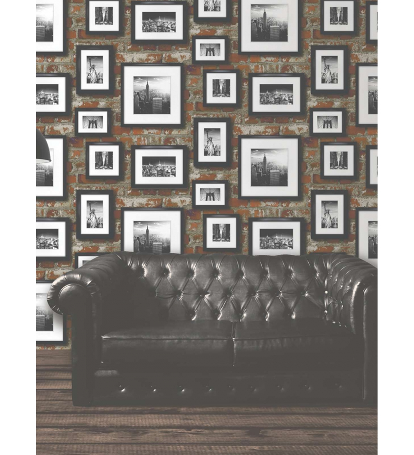 Papel pintado pared de ladrillos con fotografias blanco y negro new york 40977 - Papel de pared blanco y negro ...