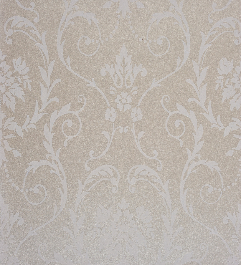 Papel pintado damasco moderno blanco y beige 2019383 for Papel pintado moderno