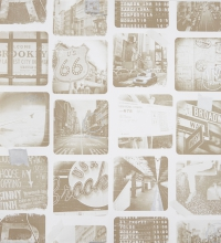 Papel pintado collage de fotos New York sepia con destellos metalizados - 2020070