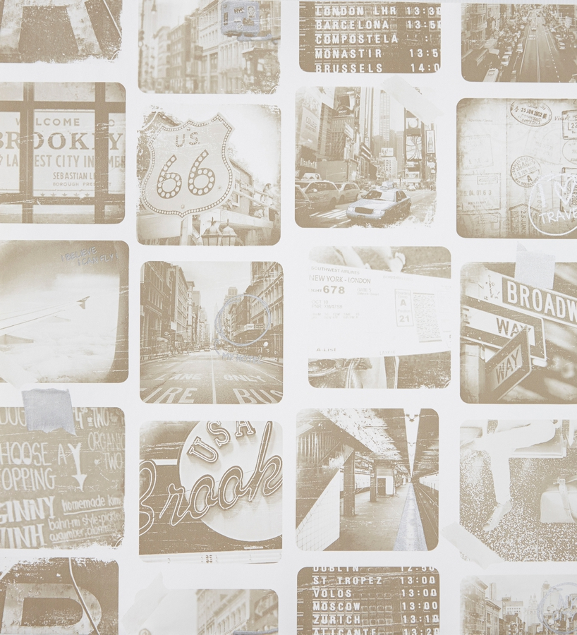 Papel pintado collage de fotos new york sepia con - Papel pintado nueva york ...