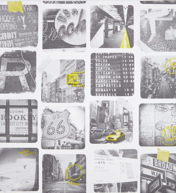 Papel pintado collage de fotos New York con contrastes en amarillo - 2020071