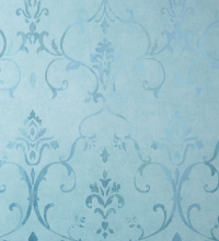Papel pintado damasco shabby chic verde agua metalizado con degradado - 2020520