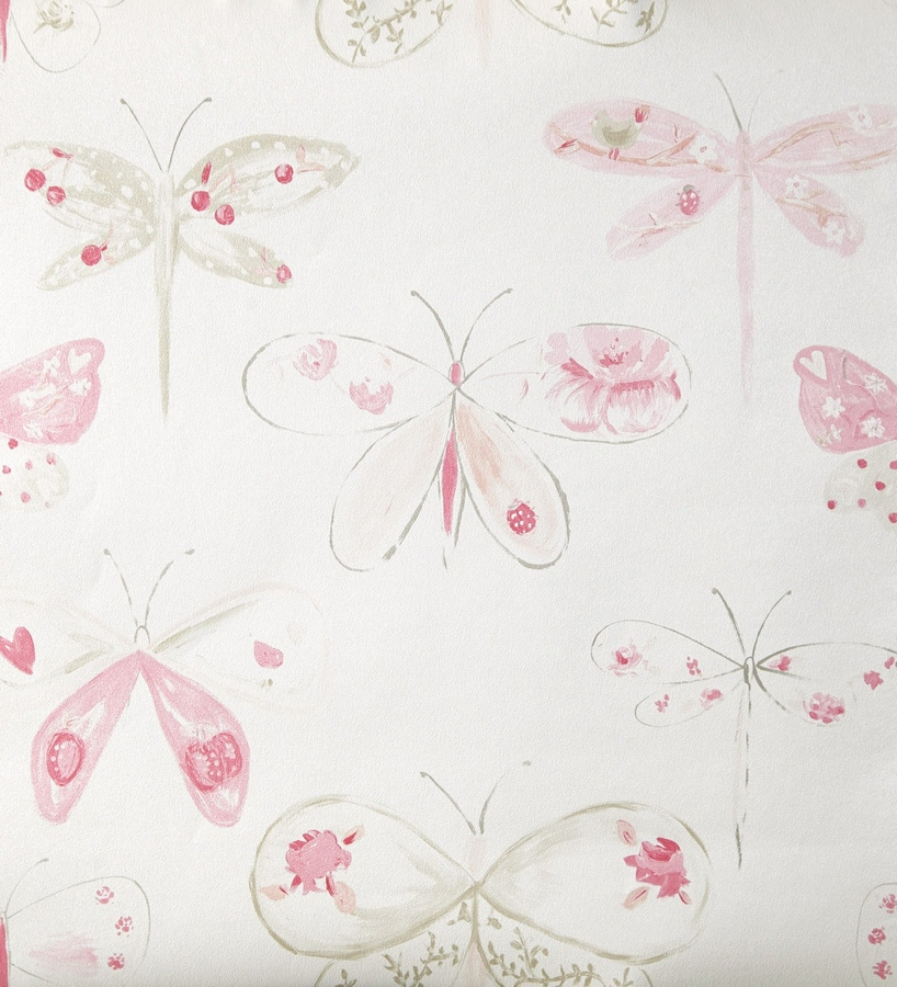 Papel pintado para ni as con mariposas y lib lulas rosas for Papel decorativo infantil
