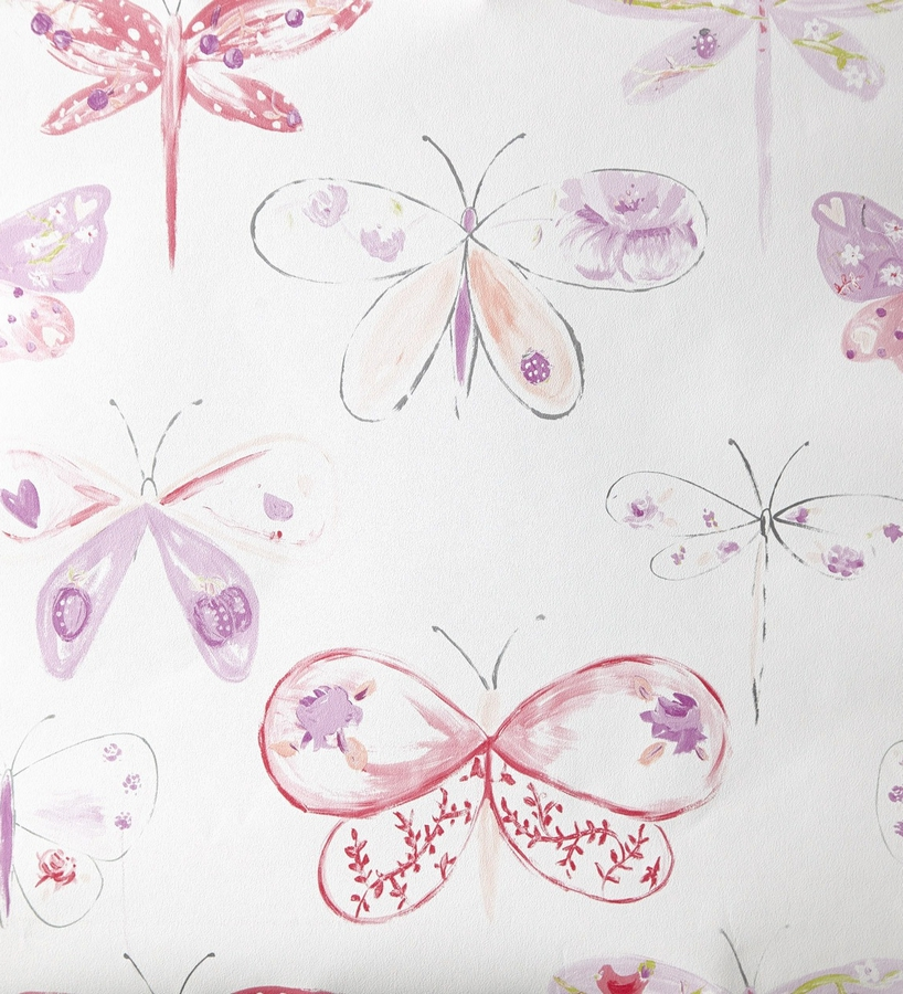 Papel pintado para ni as con mariposas y lib lulas moradas for Papel decorativo para paredes baratos