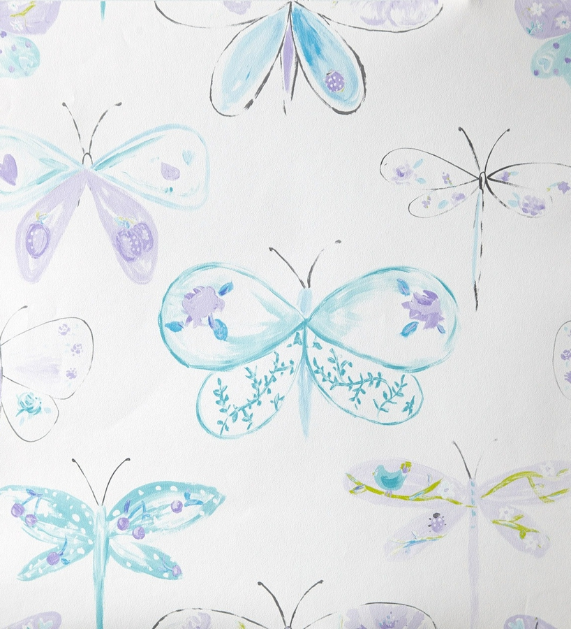 Papel pintado para ni as con lib lulas y mariposas for Papel de pared plata