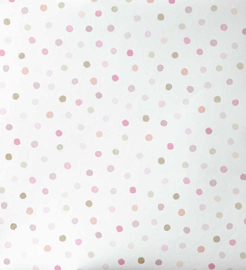 Papel pintado lunares topitos para ni as rosa y lilas for Papel pintado gris y rosa