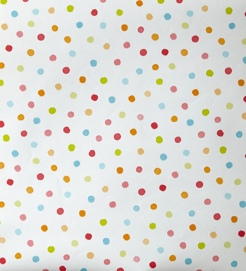 Papel pintado infantil de lunares topitos de colores 2020619 for Papel decorativo infantil