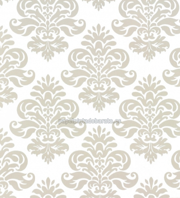 Papel pintado damascos beige y blanco 40462 for Papel pintado damasco