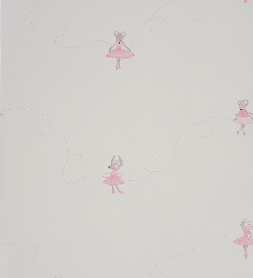 Papel pintado para ni as ratitas bailarinas rosa fondo blanco 2009768 - Papel de pared juvenil ...