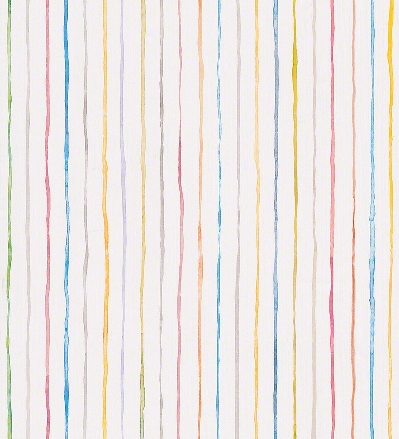 Papel pintado rayas multicolores de acuarela fondo blanco for Papel de pared blanco