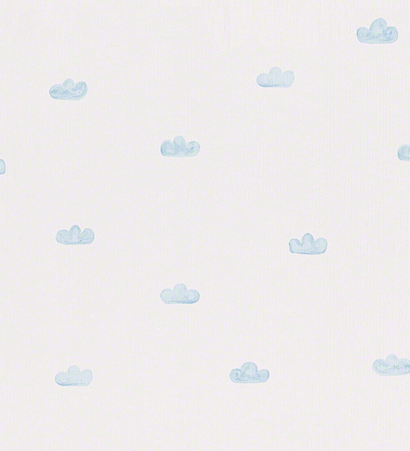 Papel pintado infantil con nubes celestes fondo blanco for Papel de pared blanco