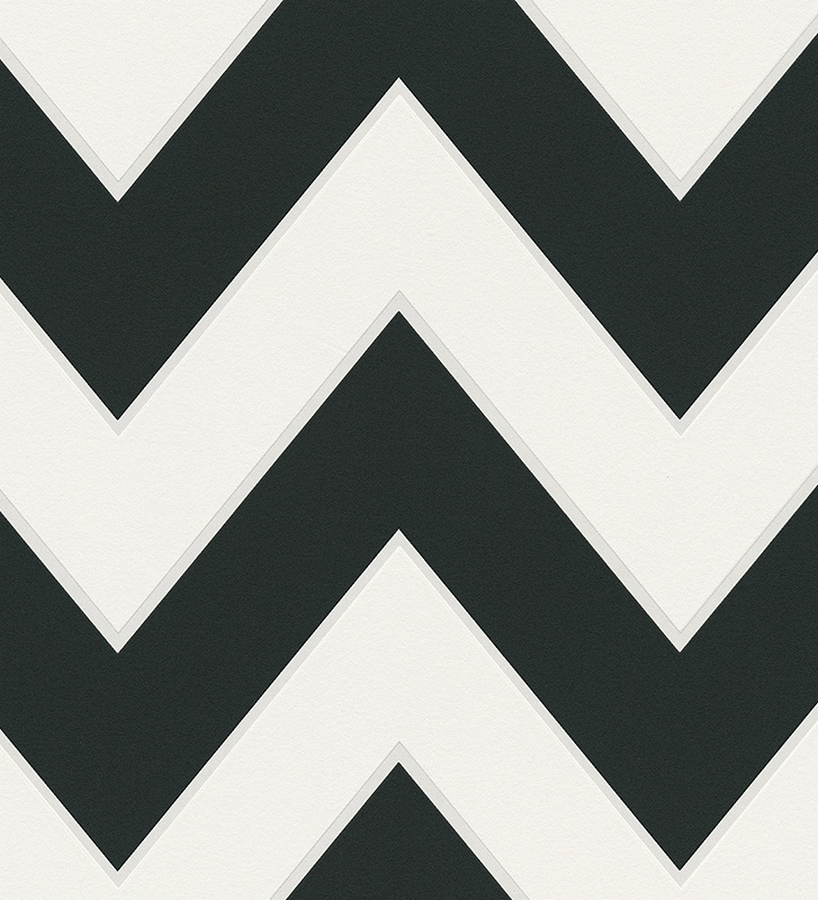 Papel pintado rayas zig zag retro blanco y negro 1141806 for Papel de rayas para pared
