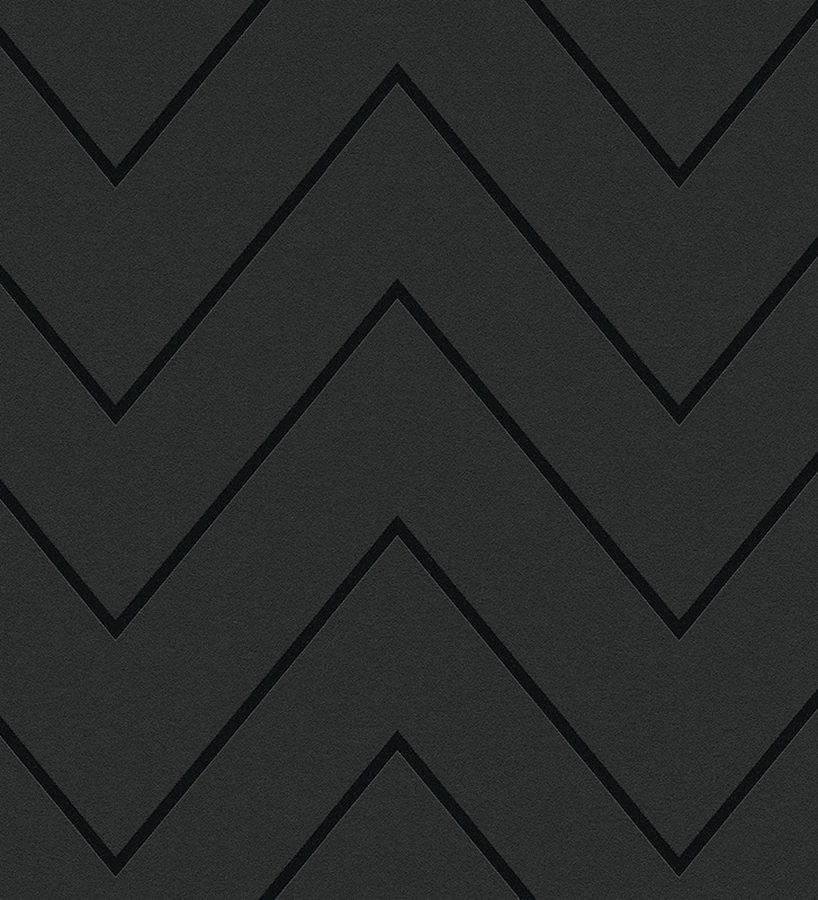 Papel pintado rayas zig zag retro color negro 1141811 for Papel pintado negro
