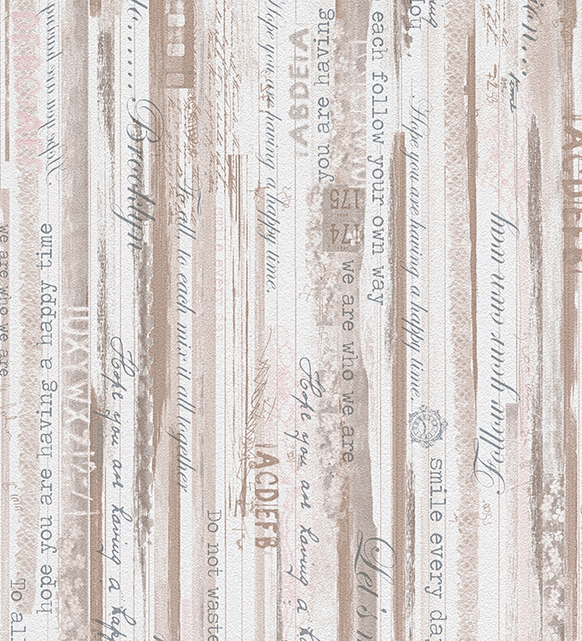 Papel pintado madera decapada con letras estilo country for Papel de pared blanco