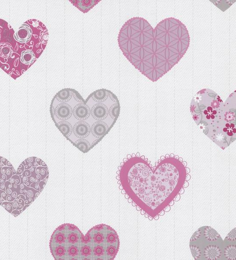 Papel pintado para ni as con corazones estampado patchwork for Marcas de papel pintado