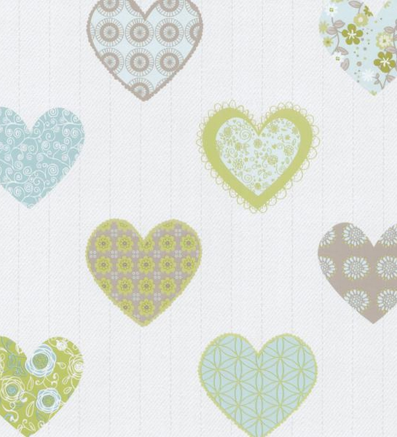 Papel pintado para ni as con corazones estampado patchwork for Papel pintado estampado