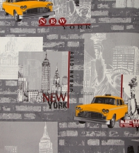 Papel pintado collage de Nueva York y taxis estilo urbano casual - 1116628
