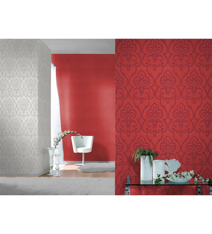 Papel pintado damasco arabe moderno con destellos rojos for Papel pintado damasco